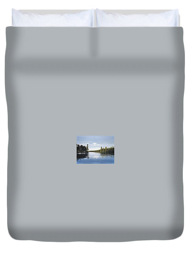 Landscapes Duvet Cover featuring the painting Bay On Lake Muskoka by Kenneth M Kirsch