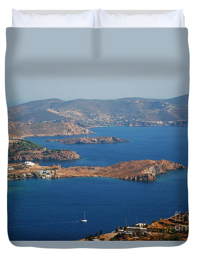 Patmos Duvet Cover featuring the photograph Bay View On Patmos Island Greece by Just Eclectic