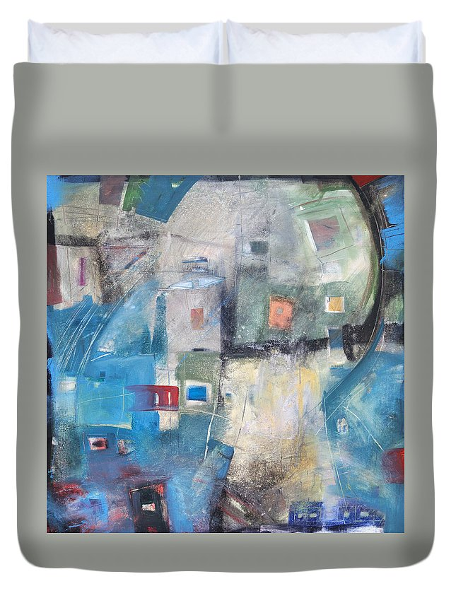 Abstract Duvet Cover featuring the painting Bayer Works Wonders by Tim Nyberg