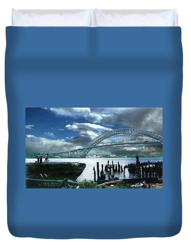 Seascape Duvet Cover featuring the photograph Bayonne Bridge by Steve Karol