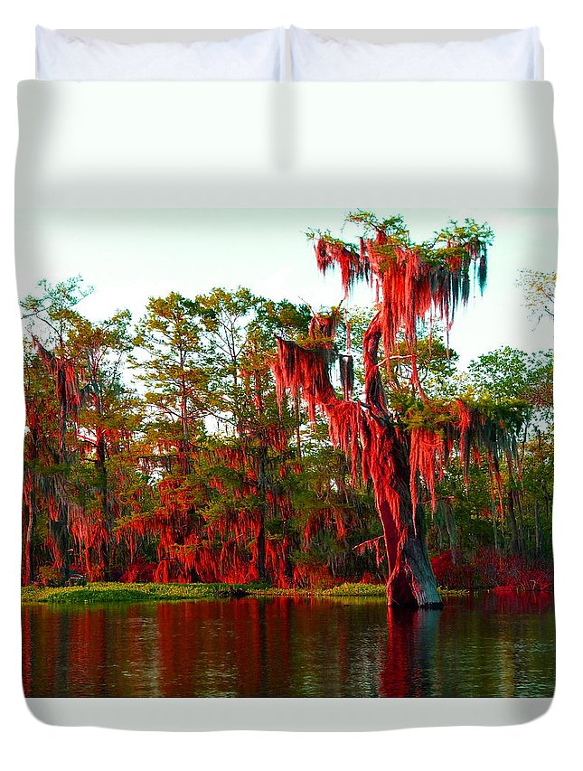Bayou Duvet Cover featuring the photograph Bayou Pigeon Sunset by Gina Welch