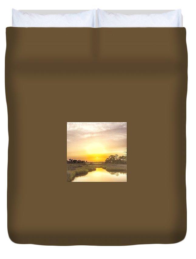 Landscape Duvet Cover featuring the photograph Bayou Sunset by Christine DuMouchel