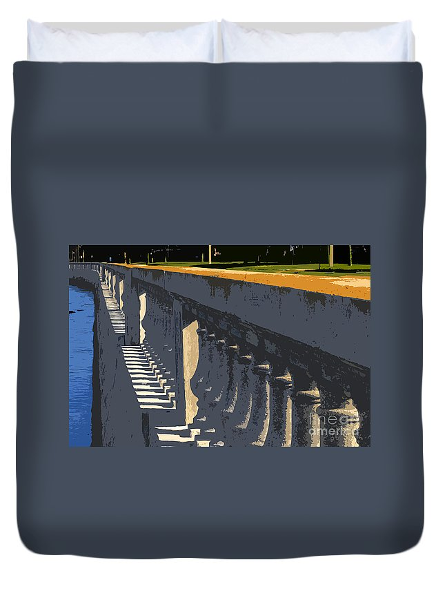 Bayshore Boulevard Duvet Cover featuring the painting Bayshore Boulevard by David Lee Thompson