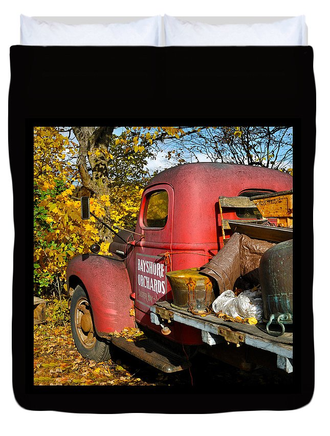 Truck Duvet Cover featuring the photograph Bayshore Orchards by Tim Nyberg