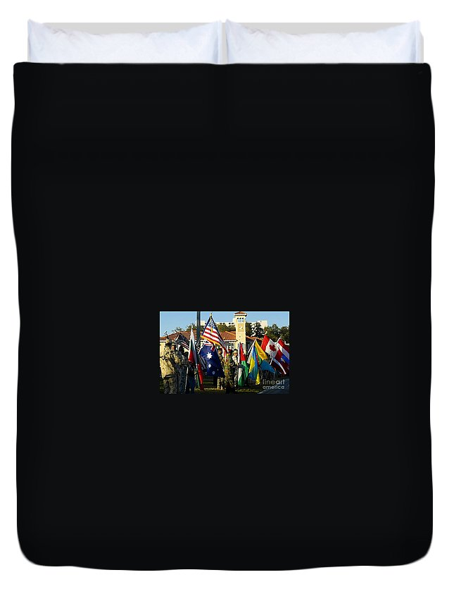 Bayshore Duvet Cover featuring the photograph Bayshore Patriots by David Lee Thompson