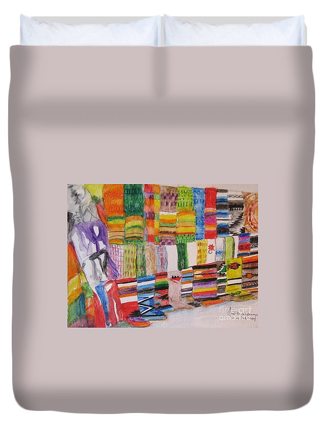 Bright Colors Duvet Cover featuring the painting Bazaar Sabado - Gifted by Judith Espinoza
