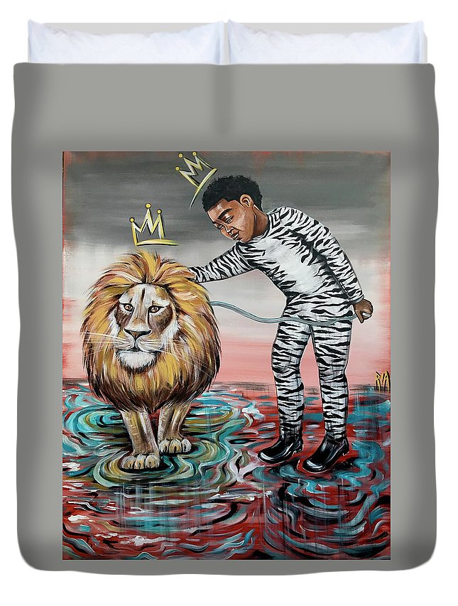 Son Duvet Cover featuring the painting Be Courageous My Son by Artist RiA