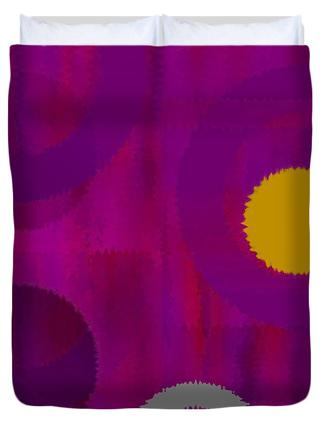 Abstract Duvet Cover featuring the digital art Be Happy II by Ruth Palmer