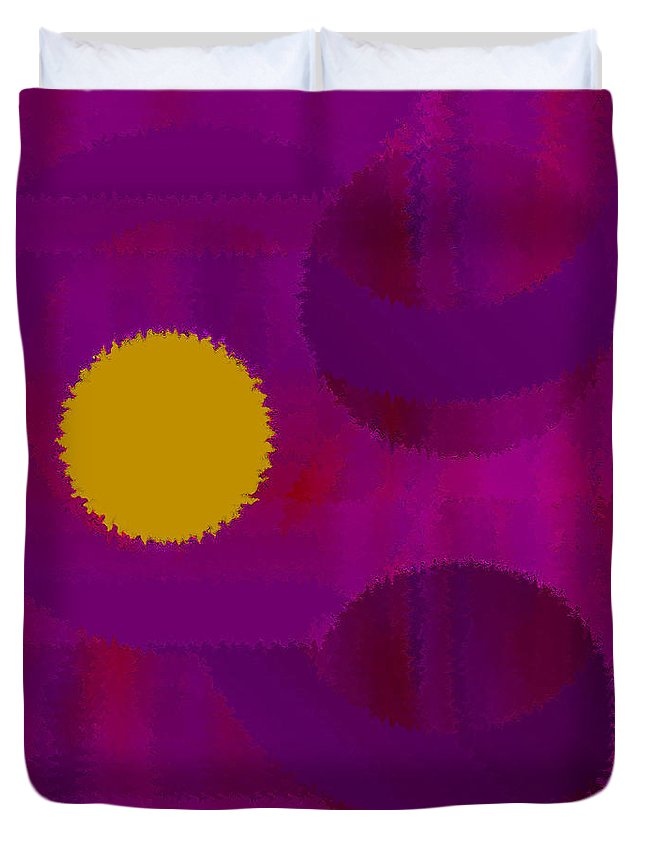 Abstract Duvet Cover featuring the digital art Be Happy by Ruth Palmer