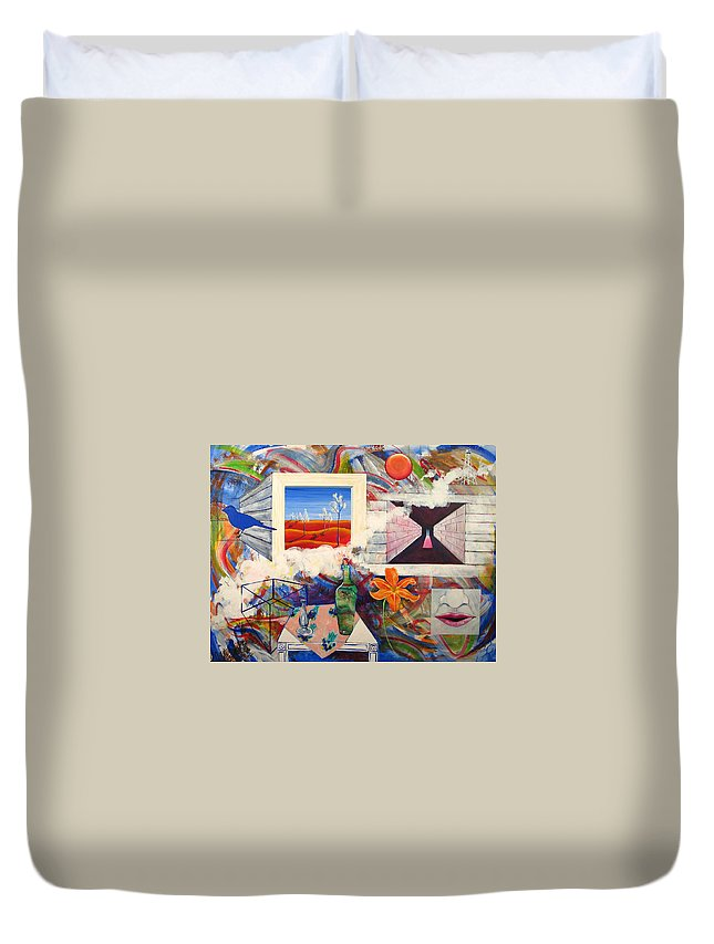 Landscape Duvet Cover featuring the painting Be Here Now by Rollin Kocsis