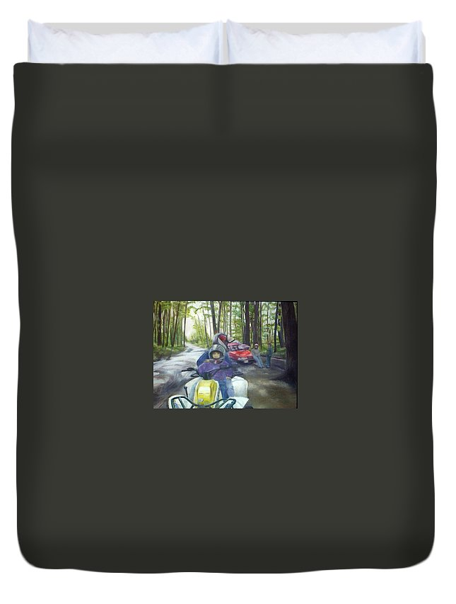 Quad Duvet Cover featuring the painting Be Right Back by Sheila Mashaw
