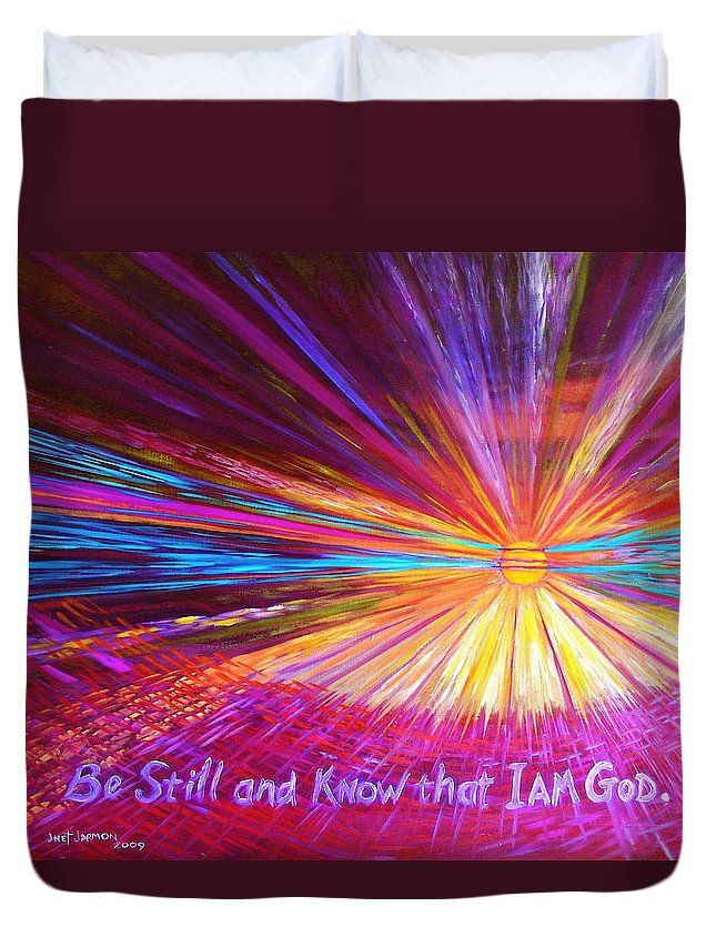 Christian Duvet Cover featuring the painting Be Still by Jeanette Jarmon