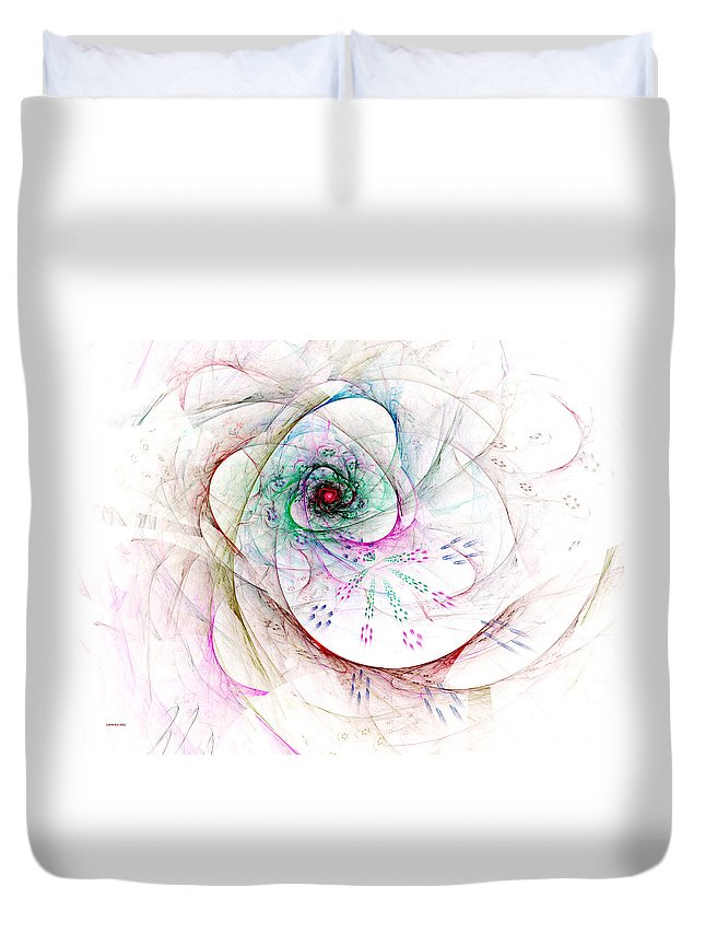 Abstract Duvet Cover featuring the digital art Be Strong Little Flower by Claire Bull