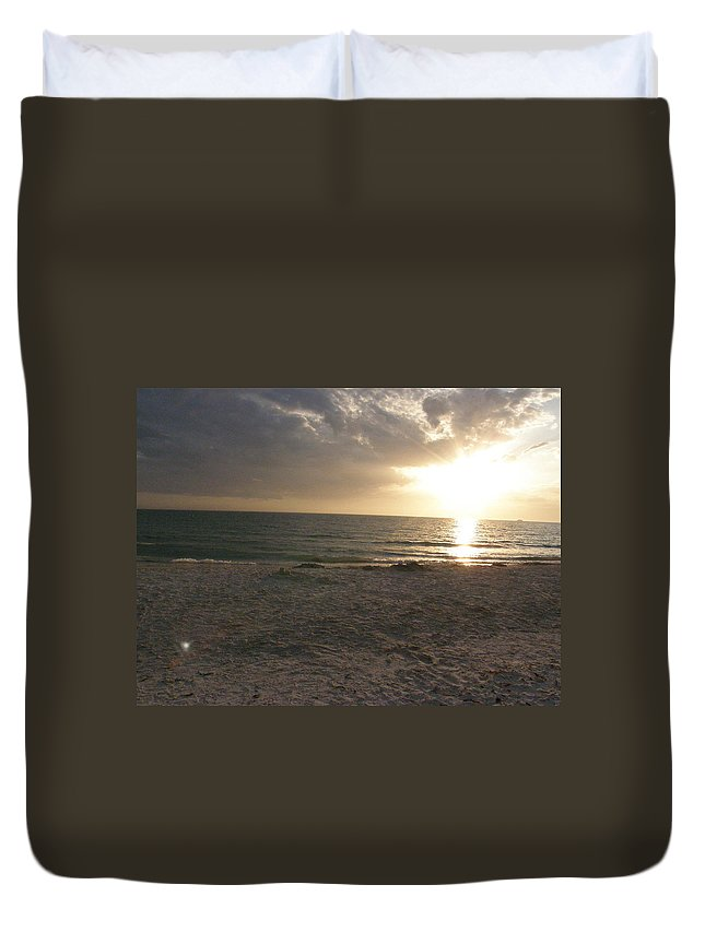 Beach Duvet Cover featuring the photograph Beach At Sunset by Alice Markham