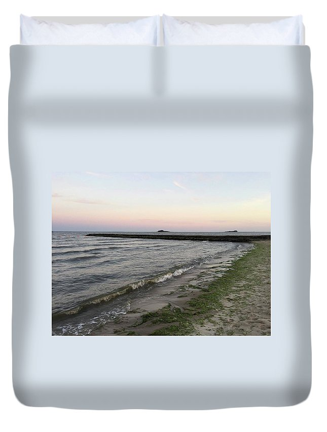 Beach Duvet Cover featuring the photograph Beach At Sunset by Jessica Lepore