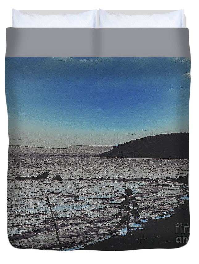 Beach Duvet Cover featuring the photograph Beach At Twilight by Dee Flouton