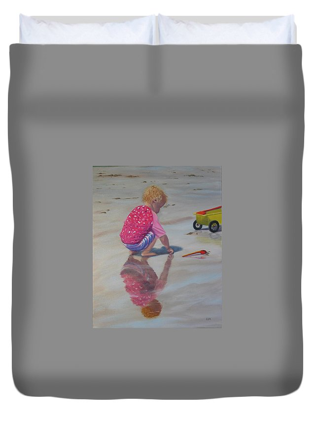 Baby Duvet Cover featuring the painting Beach Baby by Lea Novak