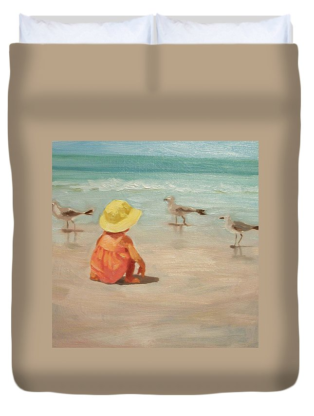 Beach Duvet Cover featuring the painting Beach Baby by Margaret Aycock