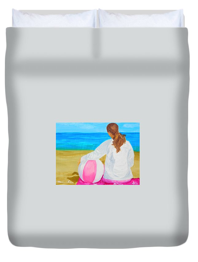 Beach Scene Duvet Cover featuring the painting Beach Ball by Michael Lee