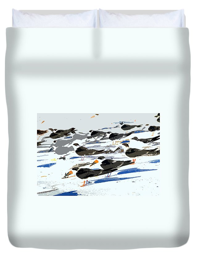 Beach Duvet Cover featuring the painting Beach Bums by David Lee Thompson
