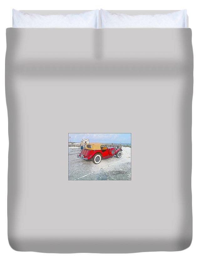 Beach Duvet Cover featuring the photograph Beach Car by Michelle Powell