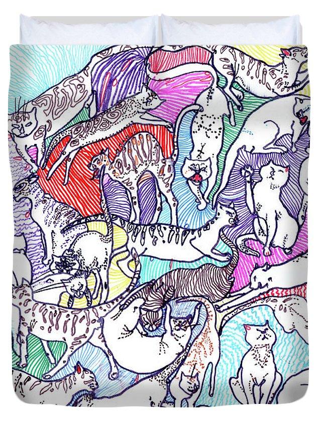 Cats Duvet Cover featuring the drawing Beach Cats by Marina Kapilova