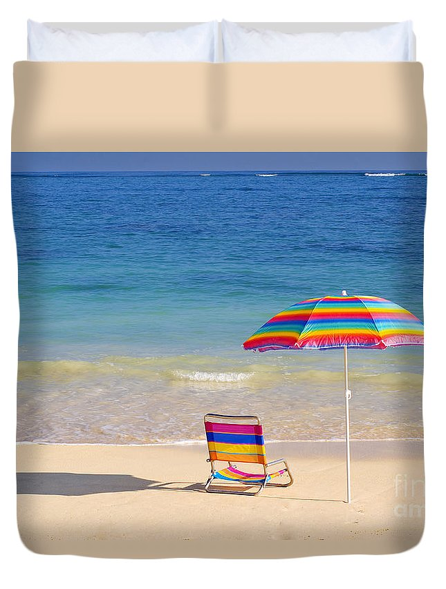 Afternoon Duvet Cover featuring the photograph Beach Chair by Tomas del Amo - Printscapes