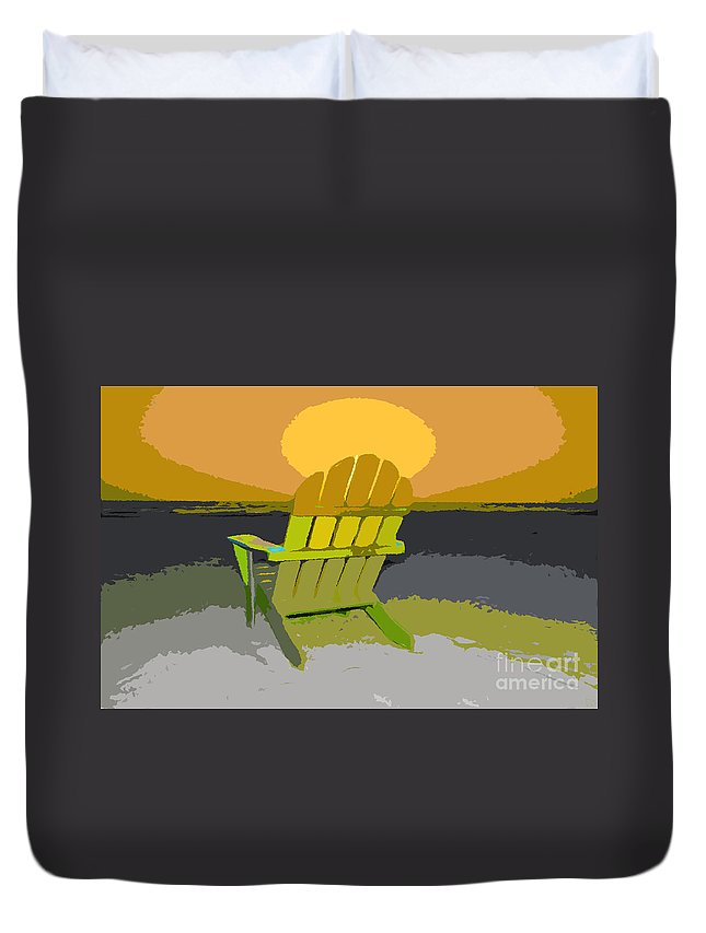 Beach Chair Duvet Cover featuring the painting Beach Chair Work Number Seven by David Lee Thompson