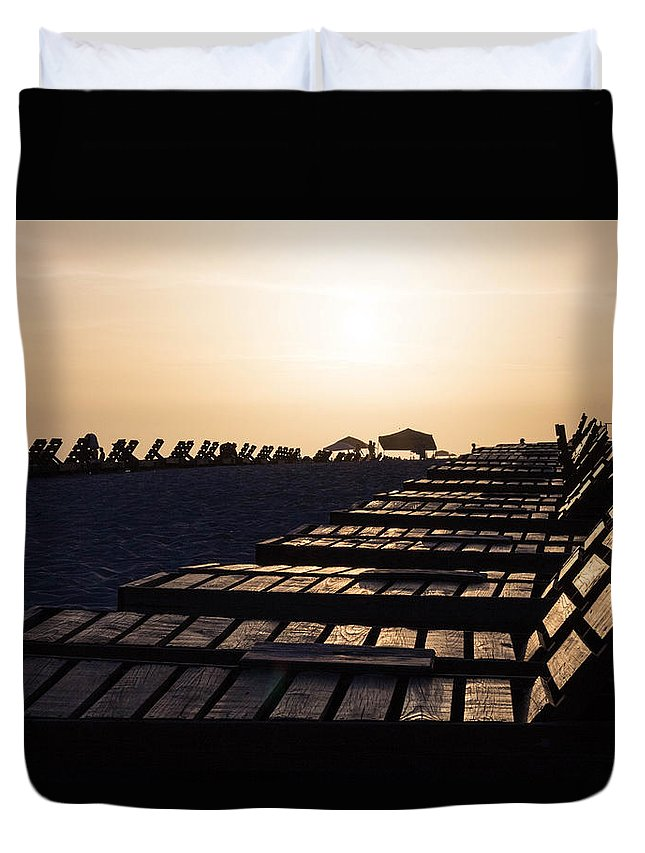 Beach Duvet Cover featuring the photograph Beach Chairs by Dylan Strachan