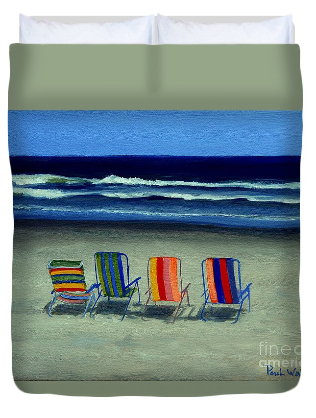 Beach Duvet Cover featuring the painting Beach Chairs by Paul Walsh