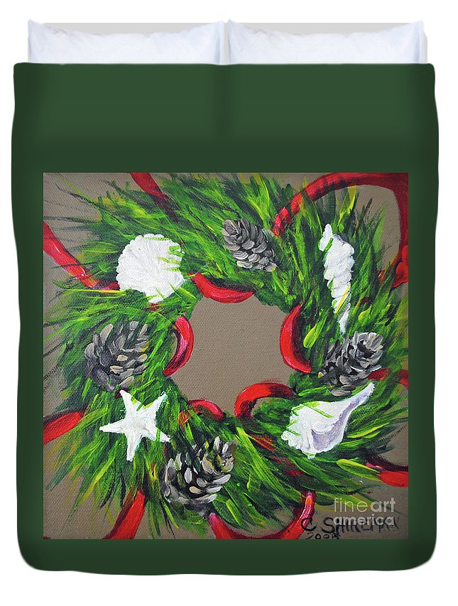 Christmas Duvet Cover featuring the painting Beach Christmas Wreath by Carolyn Shireman