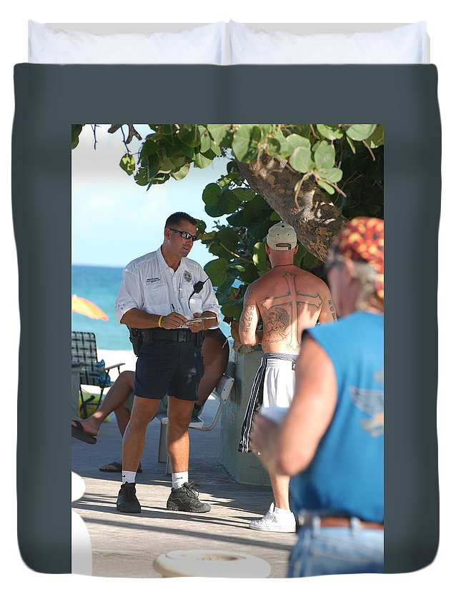 Cops Duvet Cover featuring the photograph Beach Cops And Christ by Rob Hans