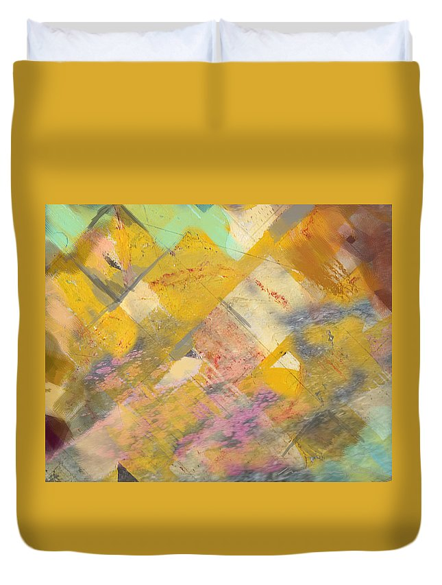 Abstract Duvet Cover featuring the digital art Beach Days by Theresa Bean