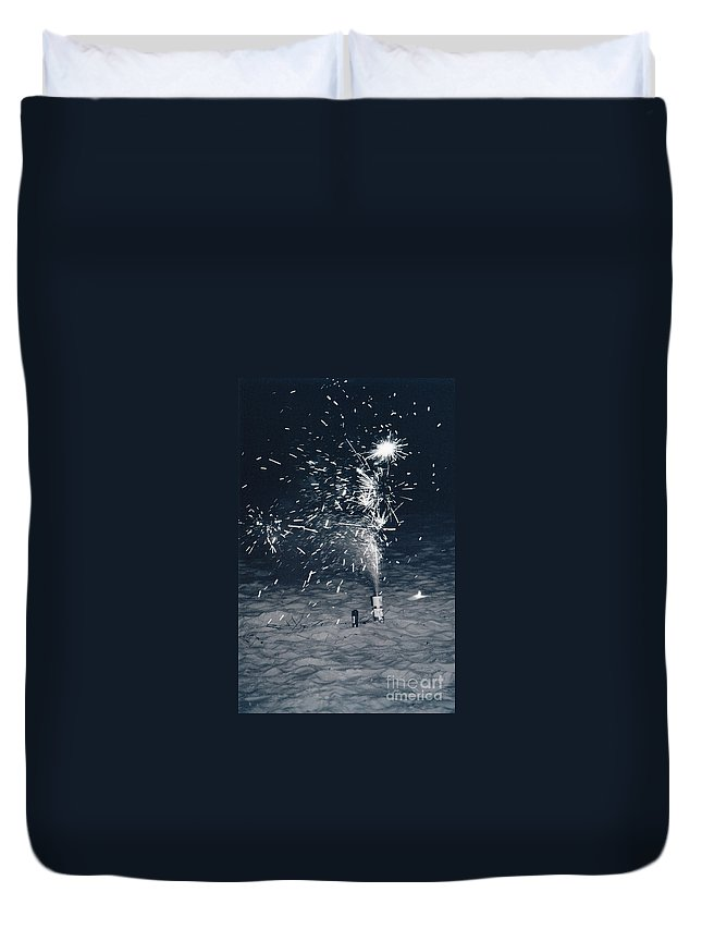 Fire Works Duvet Cover featuring the photograph Beach Fire Works by Michelle Powell