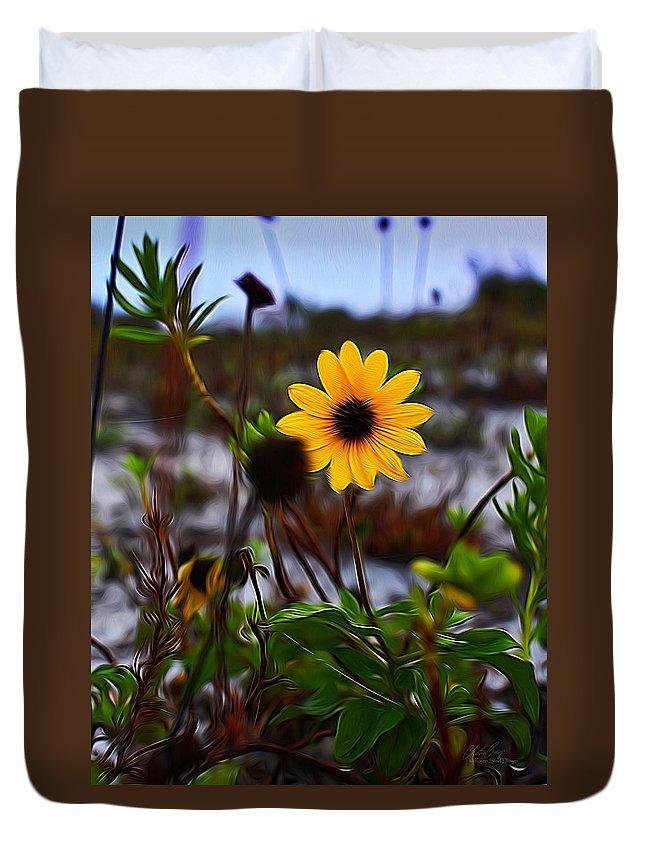Digital Art Duvet Cover featuring the digital art Beach Flower by Raven Steel Design