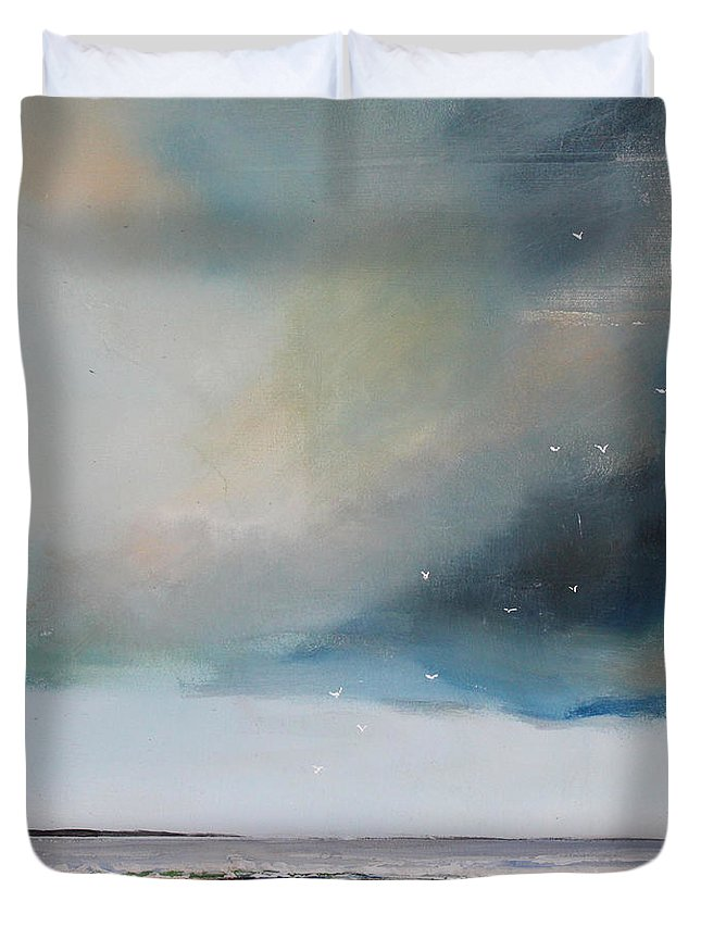 Seagulls Duvet Cover featuring the painting Beach Friends by Toni Grote