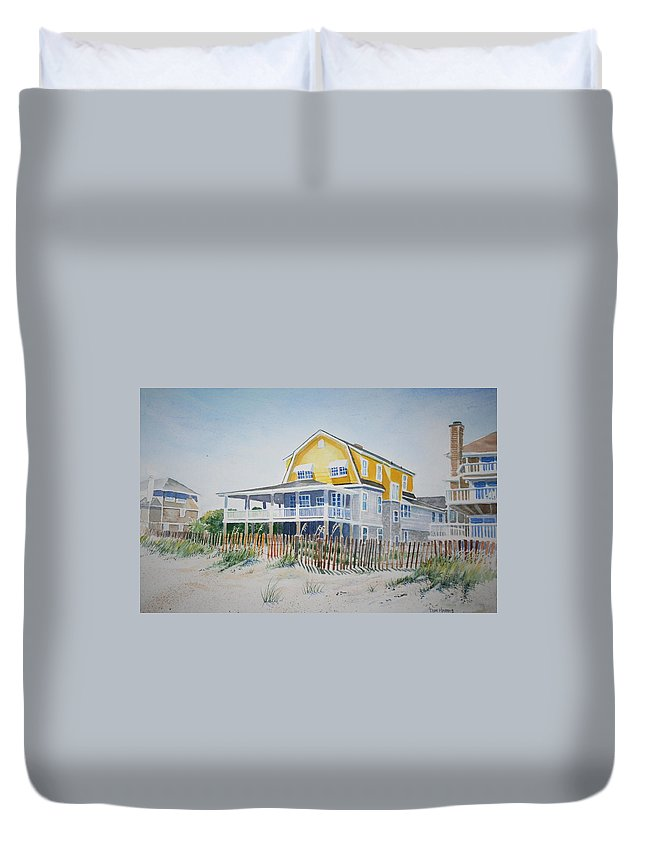 Ocean Duvet Cover featuring the painting Beach Front At Wrightsville Beach by Tom Harris