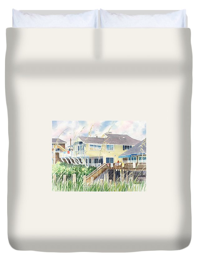 Seascape Duvet Cover featuring the painting Beach House At Wrightsville Beach by Tom Harris