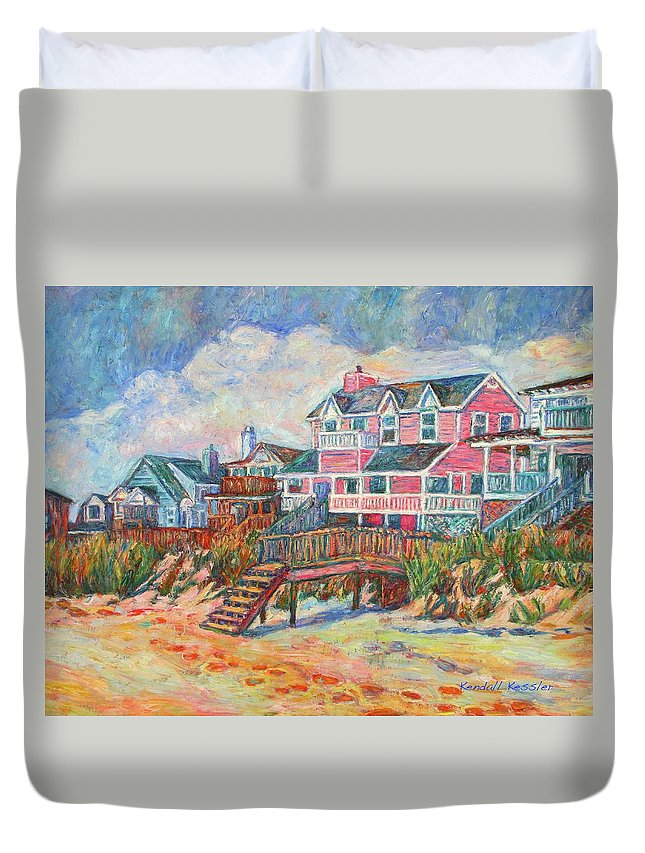 Landscape Duvet Cover featuring the painting Beach Houses At Pawleys Island by Kendall Kessler