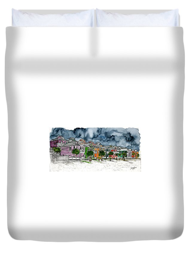 Watercolor Duvet Cover featuring the painting Beach Houses Watercolor Painting by Derek Mccrea