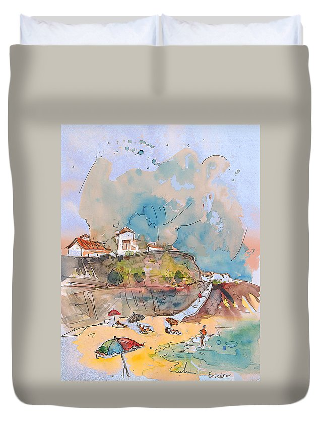 Portugal Art Duvet Cover featuring the painting Beach In Ericeira In Portugal by Miki De Goodaboom