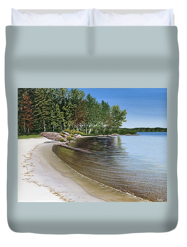 Landscapes Duvet Cover featuring the painting Beach In Muskoka by Kenneth M Kirsch