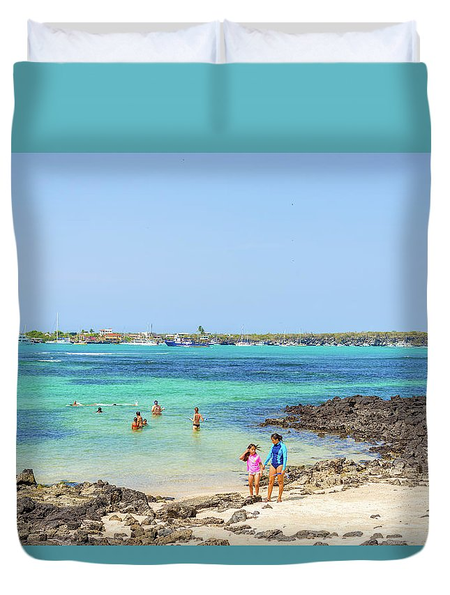 Beach Duvet Cover featuring the photograph Beach In Puerto Ayora On Santa Cruz Island by Marek Poplawski