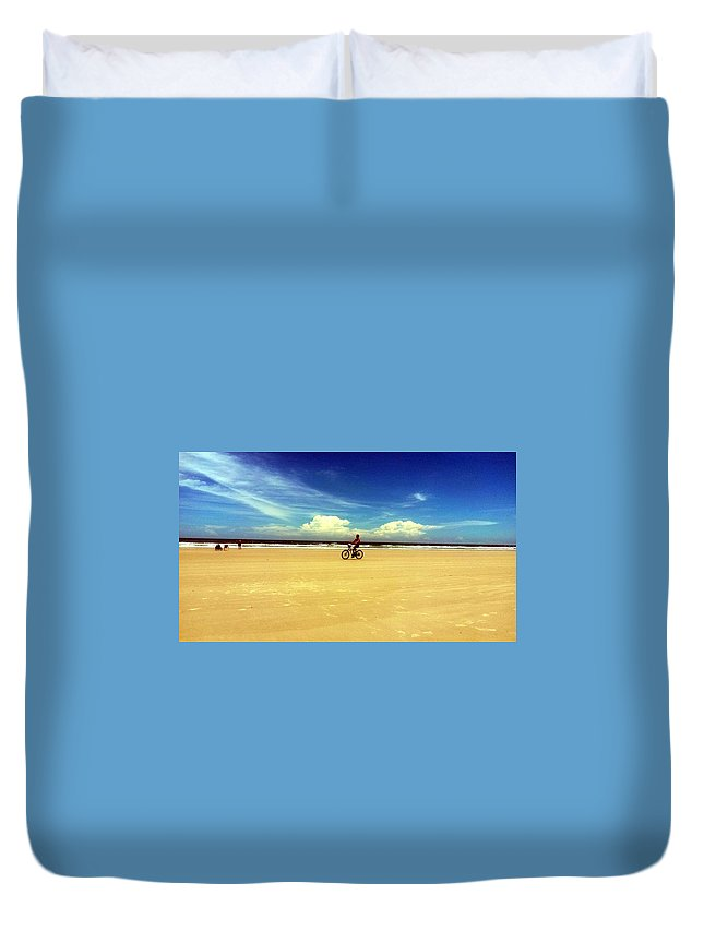 Duvet Cover featuring the digital art Beach Life On Daytona Beach by Alfred Blaho