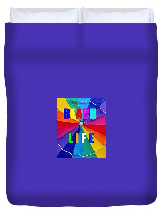 Beach Umbrella Duvet Cover featuring the photograph Beach Life Smart Phone Work A by David Lee Thompson