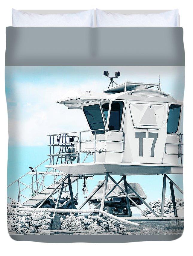 Beach Lifeguard Tower Duvet Cover featuring the photograph Beach Lifeguard Tower by Sharon Mau