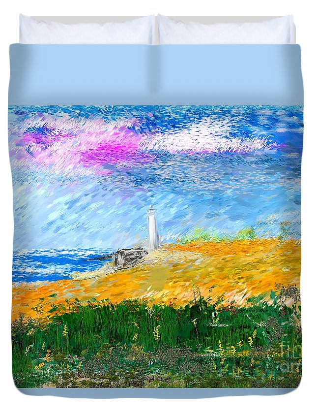 Digital Painting Duvet Cover featuring the digital art Beach Lighthouse by David Lane