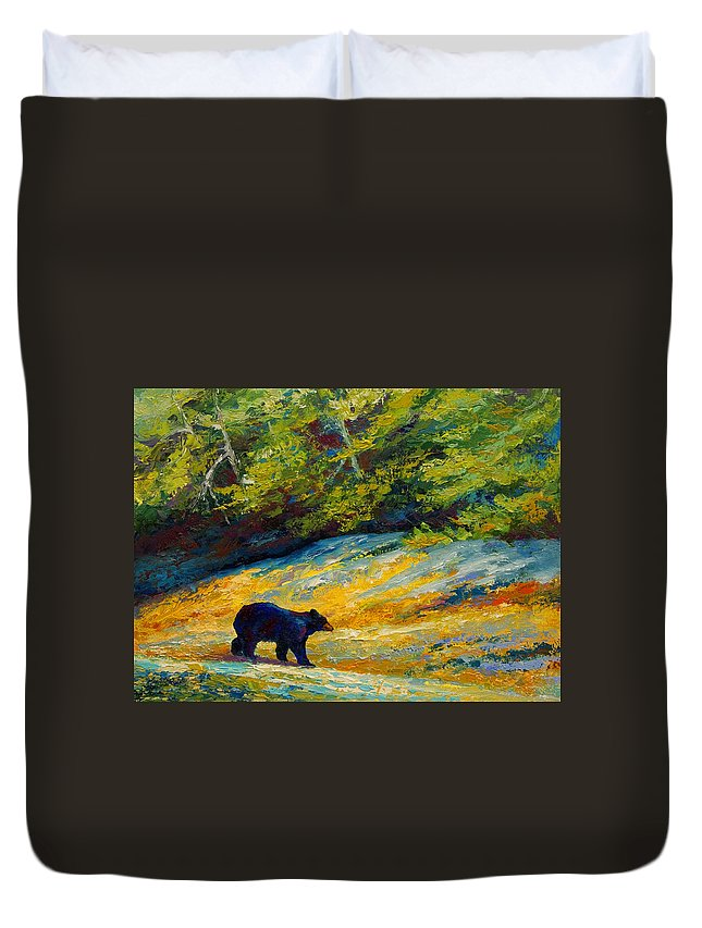 Bear Duvet Cover featuring the painting Beach Lunch - Black Bear by Marion Rose