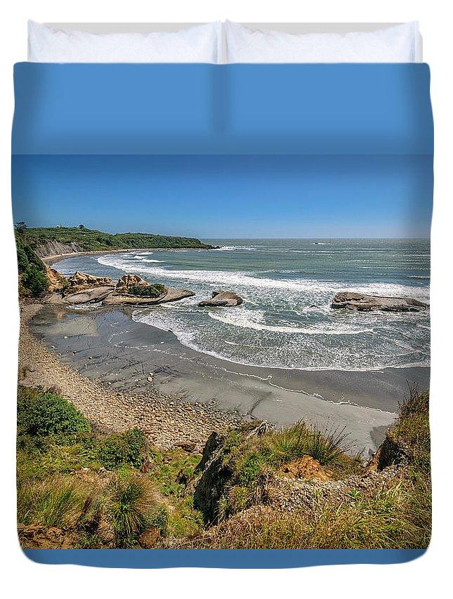 Beach Duvet Cover featuring the photograph Beach Near Cape Foulwind by Robert Green