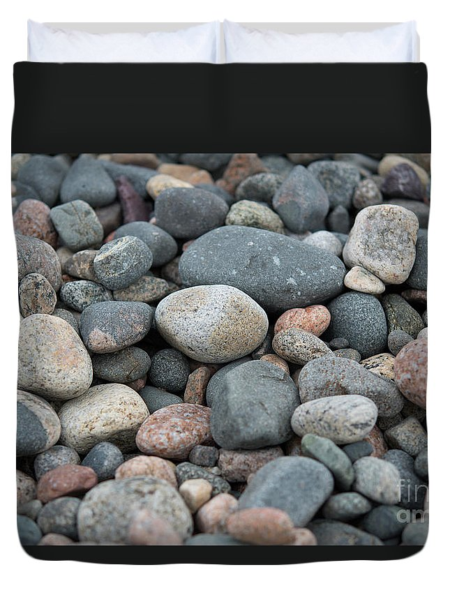 Stone Duvet Cover featuring the photograph Beach Of Stones by Michelle Himes